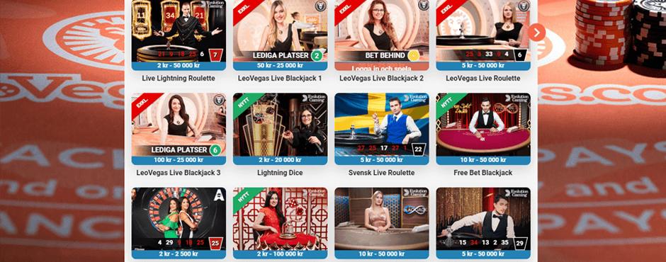 Leovegas live casino utbud
